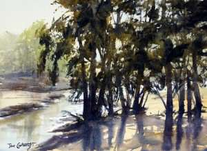 Watercolor plein air painting light through trees beside Grose River by Joe Cartwright