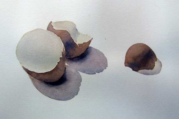 Simple watercolor paintings for beginners - egg shells
