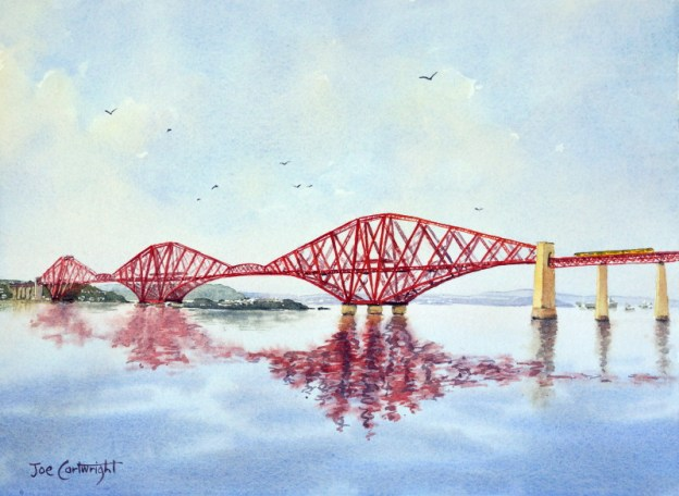 Forth Bridge Scotland Watercolor painting by Joe Cartwright