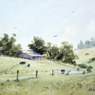 Plein air watercolor landscape painting of Luddenham Farmland