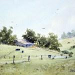 Plein air watercolor landscape painting of Luddenham Farmland