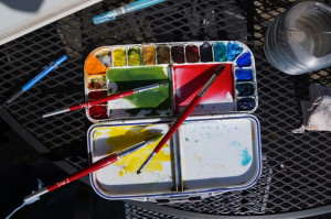 Preparation of initial water color mixtures for watercolor painting of chrysanthemums