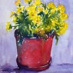 Watercolor painting demonstration of Chrysantemums in red pot by Joe Cartwright