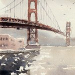 Golden gate bridge watercolour painting