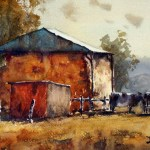 Hayshed and cows watercolour paintings