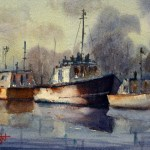 Old Boats watercolour painting