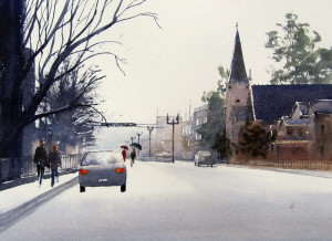 Watercolor painting of cars and people prior to doing road reflections