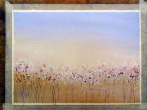 Use water spatter and brush work to finish flower impressions and stems.