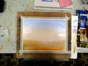 graded watercolour wash as under painting