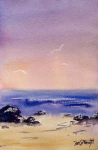 Image of completed simple watercolor painting using candle wax