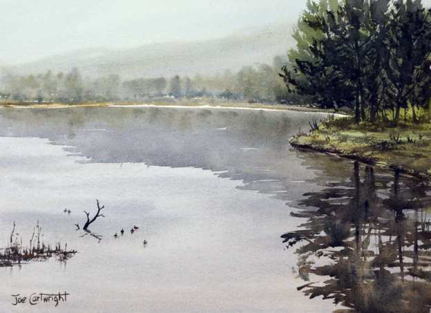 plein air watercolor painting title Misty morning Yarramundi by Joe Cartwright