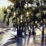 "Watercolor painting for sale, title ""Morning Light, Grose River"". Size 14.5"" x 10.5"" ( 37cm x 27cm) Price AUD$295 unframed"