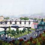 "Watercolor painting titled "" Bridges of Prague"" For sale priced AUD$600"