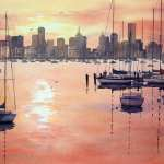 "Watercolour painting for sale, titled ""Sunrise over Melbourne from Williamstown"". Size: 54cm x 36cm. Price: AUD$600"