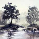 "Watercolor painting for sale. Grose River 14.5"" x 10.5"" (37cm x 27cm) AUD$300"