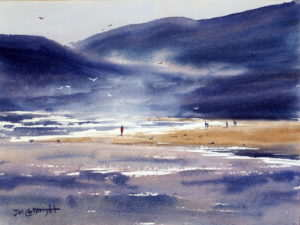 Watercolor painting of North Coast Sunset showing how to stretch watercolor paper