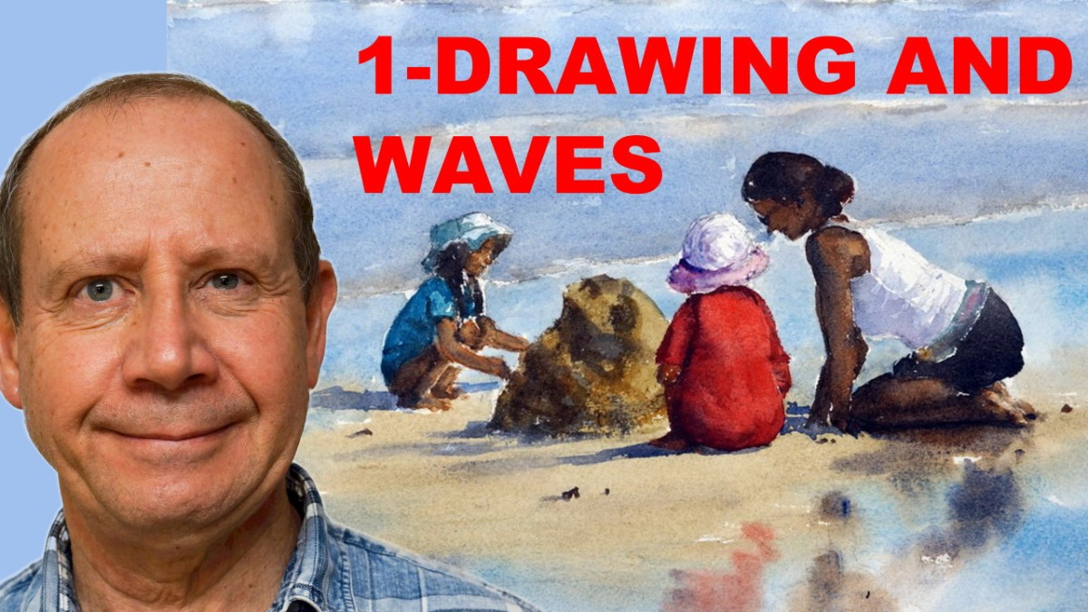 Watercolor demonstration Waves, Sand, and Reflections – Part one