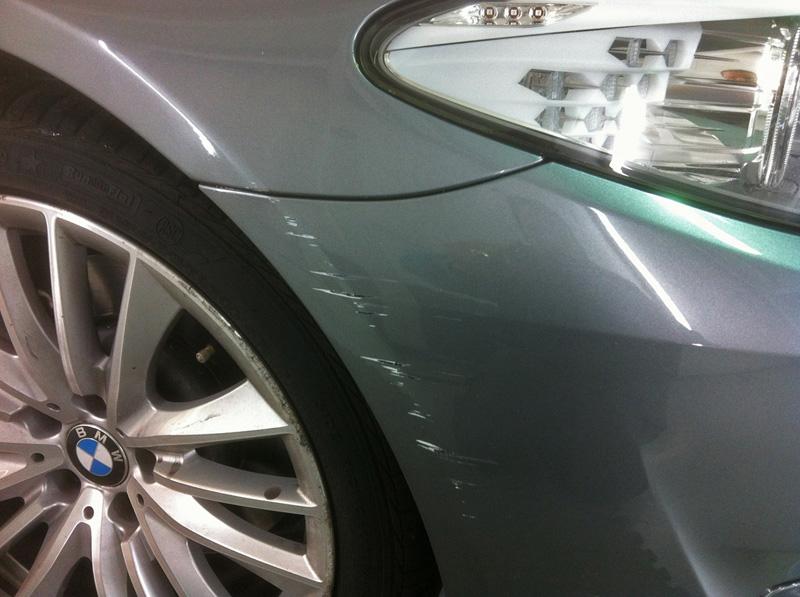 Scratched BMW bumper