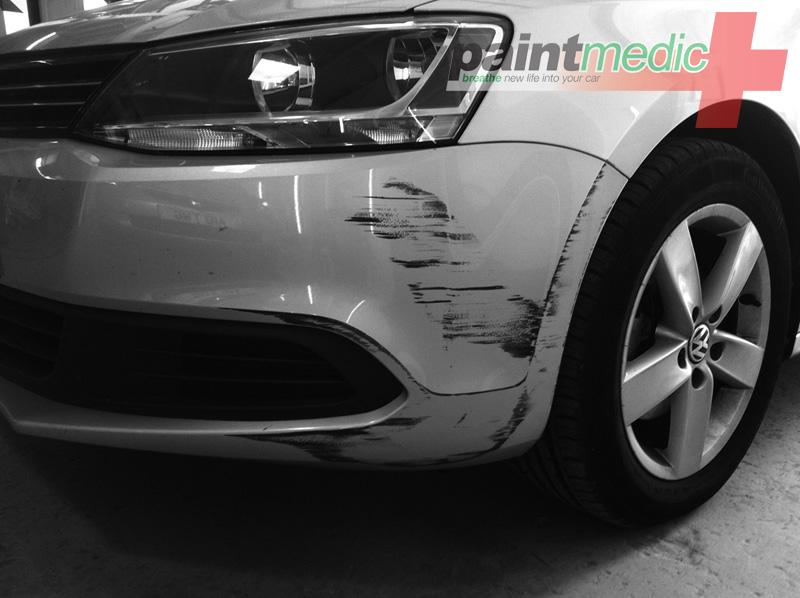 Bumper scuff before Paintmedic repair
