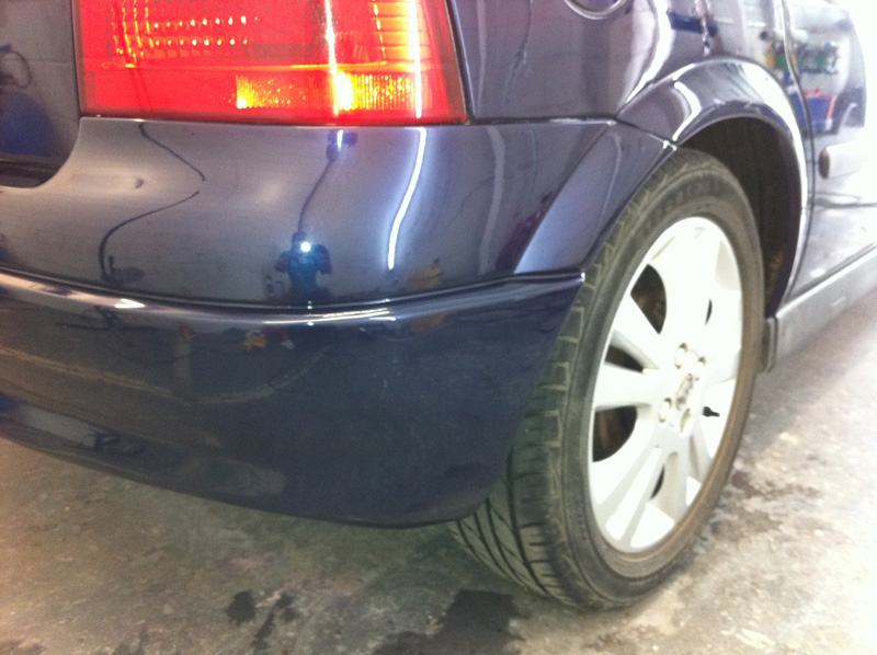 Damaged bumper after Paintmedic repair