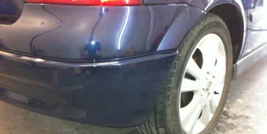 Damaged bumper after Paintmedic repair