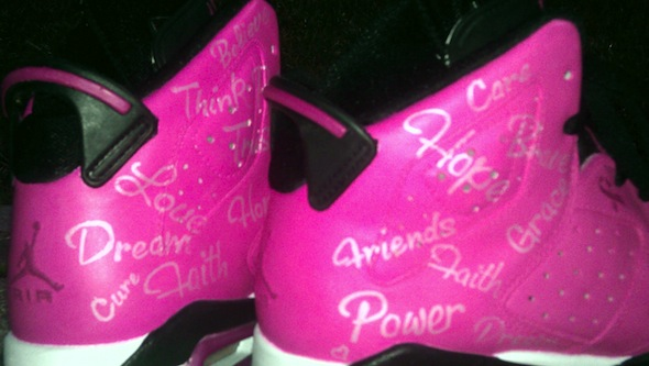pink breast cancer air jordan vi shoes da prince 1 Breast Cancer Awareness Air Jordan VI Shoes by Da Prince Customs