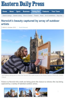 Norwich's beauty captured by array of outdoor artists, EDP, 21 October 2015
