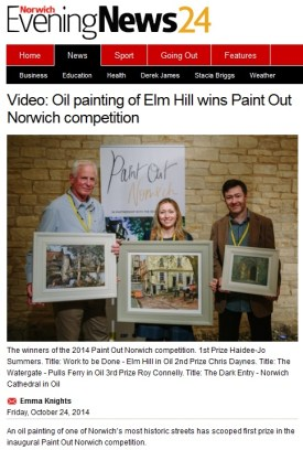 Paint Out Norwich 2014 winners announcement, Norwich Evening News, 24 October 2014