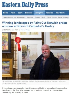 Winning landscapes by Paint Out Norwich artists on show at Norwich Cathedral's Hostry, EDP, 26 October 2015