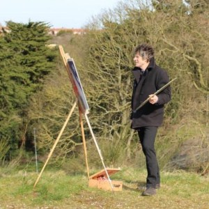 Paint Out Norwich 2015 co-founder, James Colman, painting en plein air at Mousehold Heath media launch