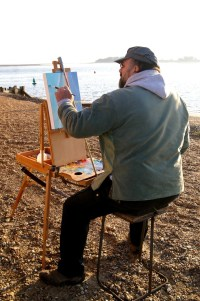 John Behm painting on Wells Beach at Paint Out Wells 2015, Photo by Katy Jon Went
