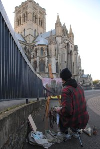 Timothy Betjeman painting St John's Roman Catholic Cathedral, Norwich, October 2014