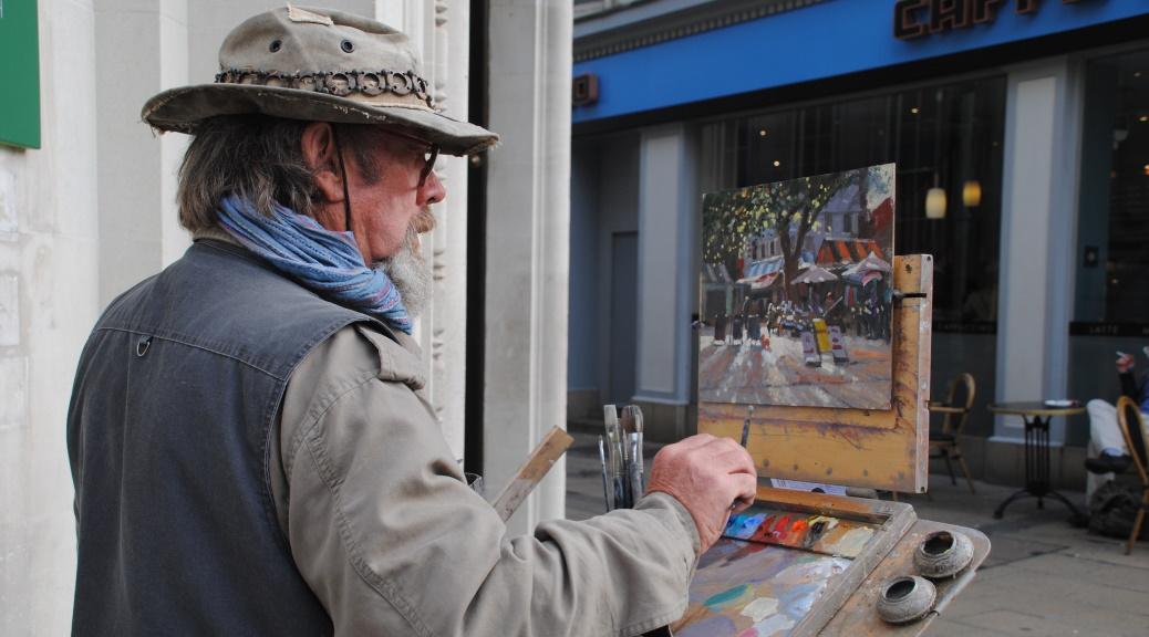 Artist Michael Richardson painting Norwich Market Paint Out 22 Oct 2014