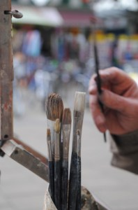 Brushes at Norwich market Paint Out 2014