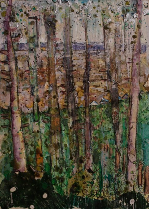 Alfie Carpenter Huts Through the Trees Paint Out Wells 2015 Second Prize Mixed Medium 8x12 ©Mark Ivan Benfield