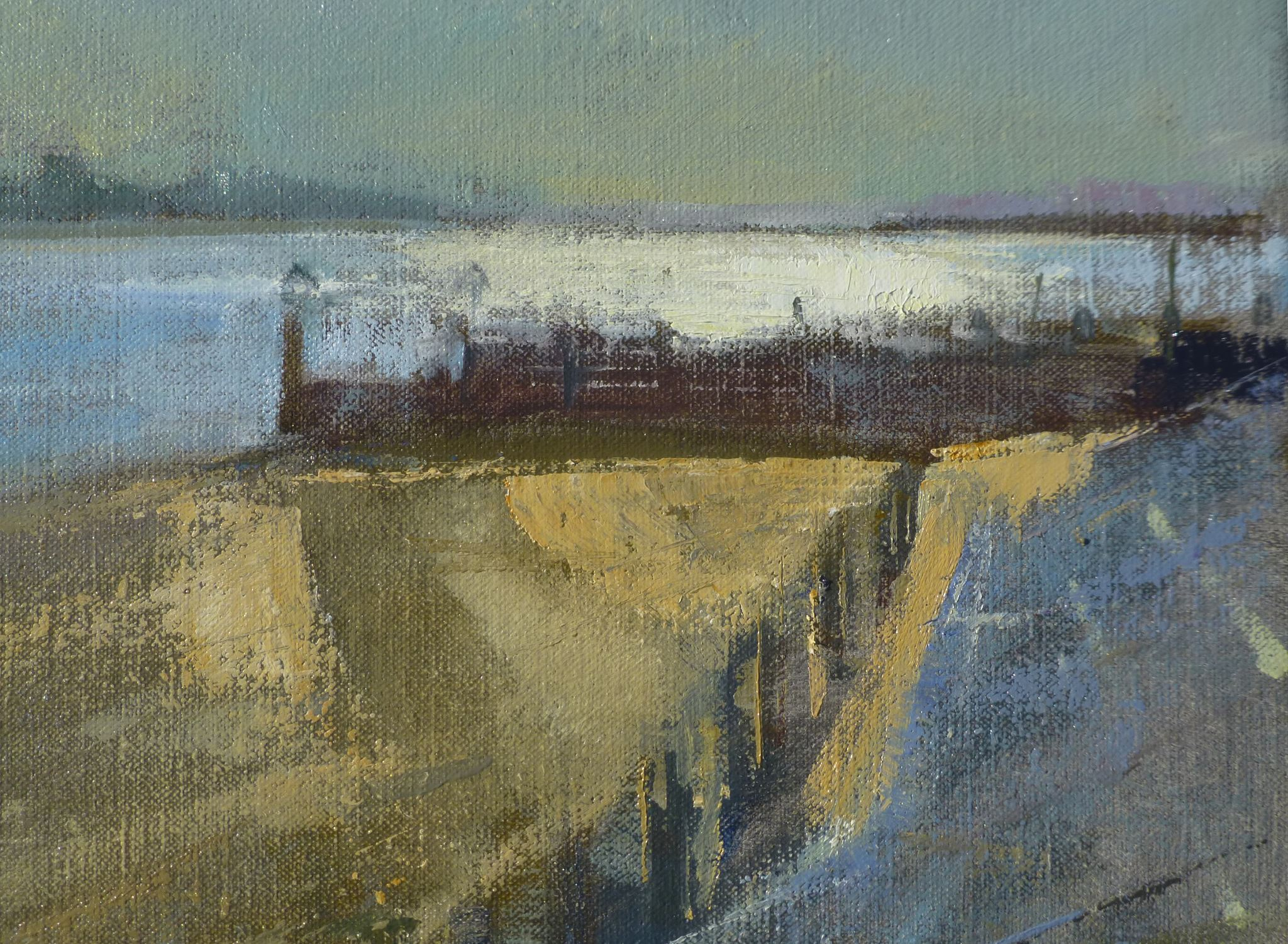 Roy Connelly Sunrise oil painting Paint Out Wells, Norfolk 11 Sep 15