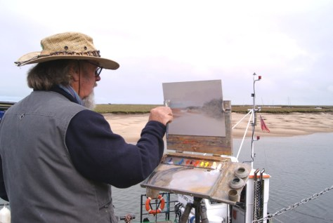 Michael Richardson demonstrating at Art Workshop at Paint Out Wells 2015 Photo by Katy Jon Went
