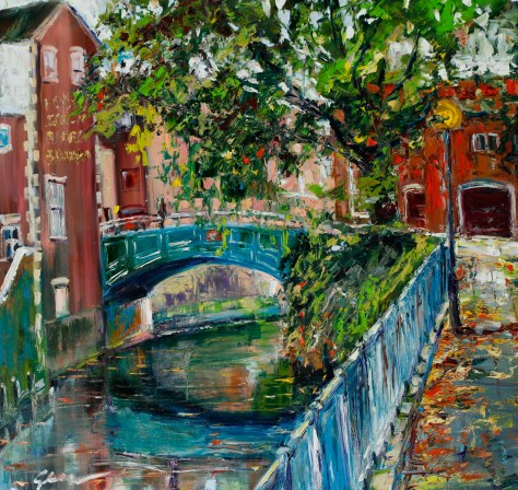 Artist Gennadiy Ivanov - Autumn at Wensum River 32x32 Oil on Canvas at Paint Out Norwich 2015 photo by Mark Ivan Benfield