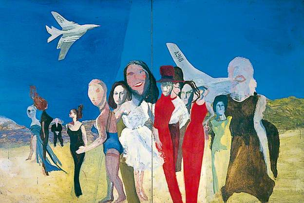 Colin Self, Waiting Women and 2 Nuclear Bombers (Handley Page Victors), 1962, Oil on board
