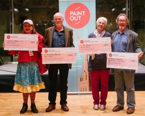 Paint Out Wells winners prize awards: Eloise O'Hare (3rd), Richard Bond (1st), Mo Teeuw (2nd), Michael Richardson (Nocturne 1st) (L-R)©Matt Dartford