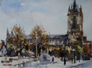 Artist Andrew Horrod - Mancroft, £375 16x12 Watercolour on Paper at Paint Out Norwich 2015 photo by Mark Ivan Benfield
