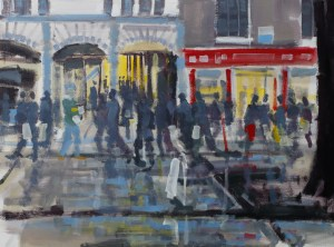 Artist Tom Cringle - Rush Hour, £275 16x12 Acrylic on Board at Paint Out Norwich 2015 photo by Mark Ivan Benfield