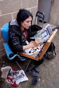 Artist Antonella Beschorner painting Jickling Yard in Wells, Norfolk POW15, Photo by Katy Jon Went