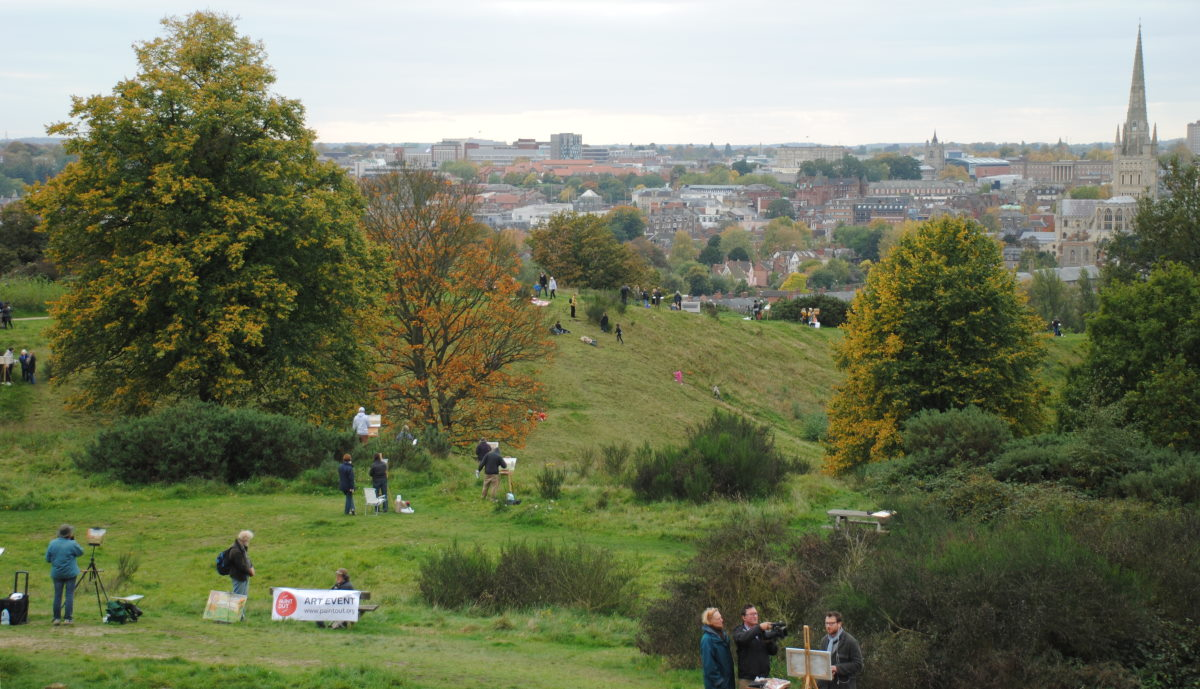 Artists on Mousehold Heath at Paint Out Norwich 2015. Photo by Katy Jon Went