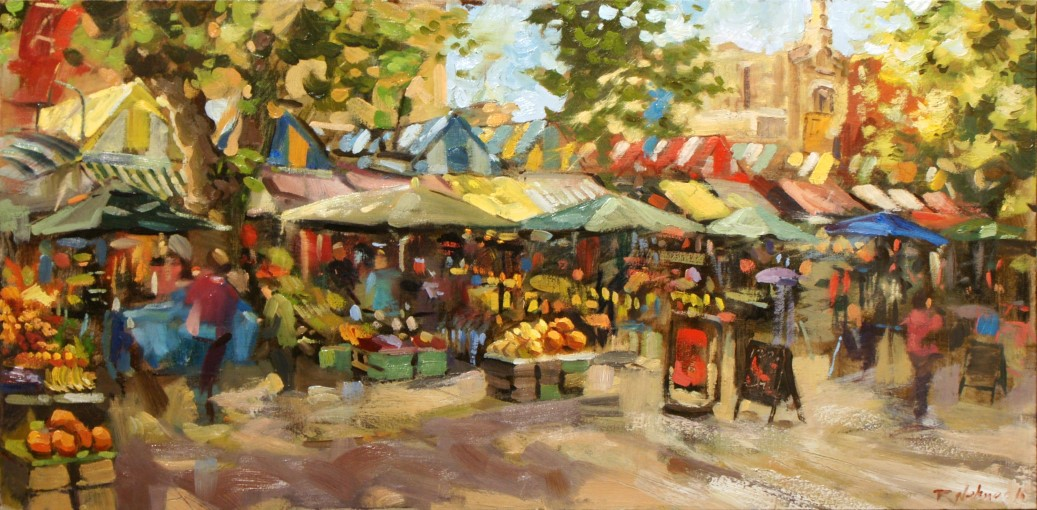 Artist Robert Nelmes 'Norwich Market', £950 Oil, 100x50cm, Paint Out Norwich 2016 - Freestyle First Prize. Photo by Katy Jon Went