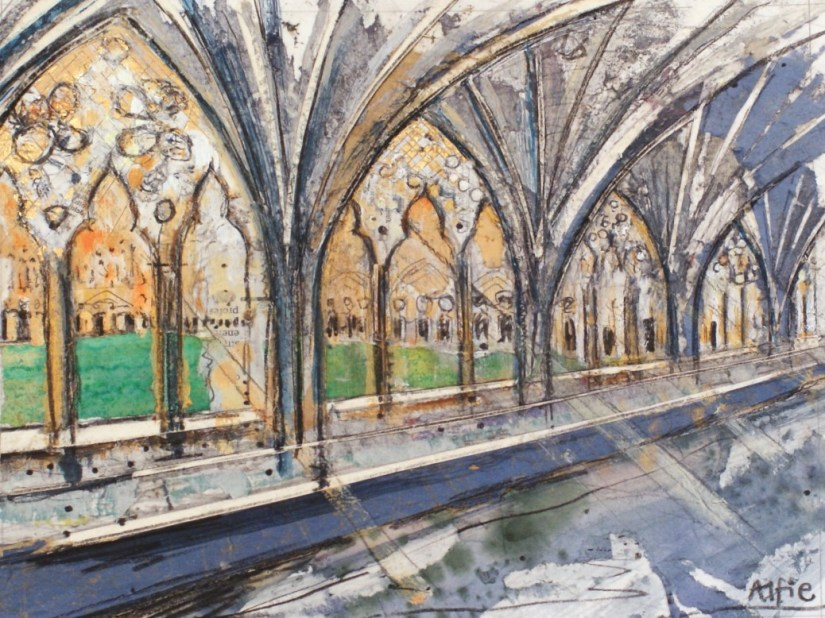 Artist Alfie Carpenter, Cool in the Cloisters, Mixed Media, 15x25cm, £180, Paint Out Norwich 2016. Photo by Katy Jon Went