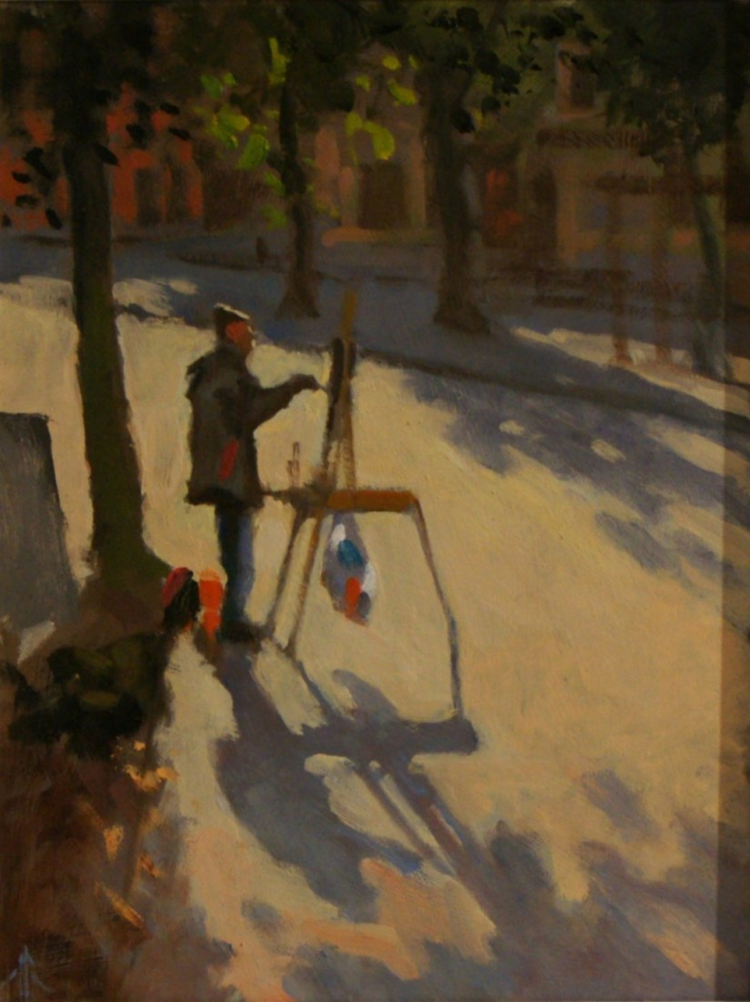 Artist Michael Richardson, 'Artist in Tombland', Tombland, £700. Oil, 16x12in, Paint Out Norwich 2016. Photo by Katy Jon Went