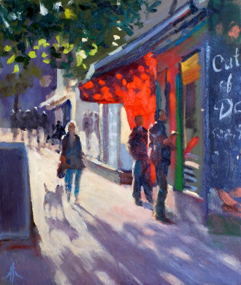 Artist Michael Richardson, 'Catch of the Day', Norwich Market, £550. Oil, 12x10in, Paint Out Norwich 2016. Photo by Katy Jon Went