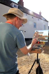 Artist Tony Robinson painting Wells-next-the-Sea Quayside, Norfolk, at POW15. Photo © Katy Jon Went