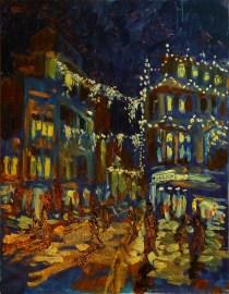 Artist Stephen Johnston, Paint Out Norwich Winter Nocturne, Winner, Oil, 16x20in